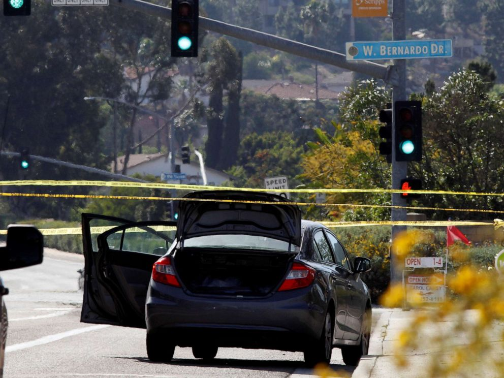 PHOTO: A car, allegedly used by the gunman who killed one at the Congregation Chabad synagogue in Poway, is pictured, few hundred feet from the Interstate 15 off-ramp north of San Diego, Calif. April 27, 2019.
