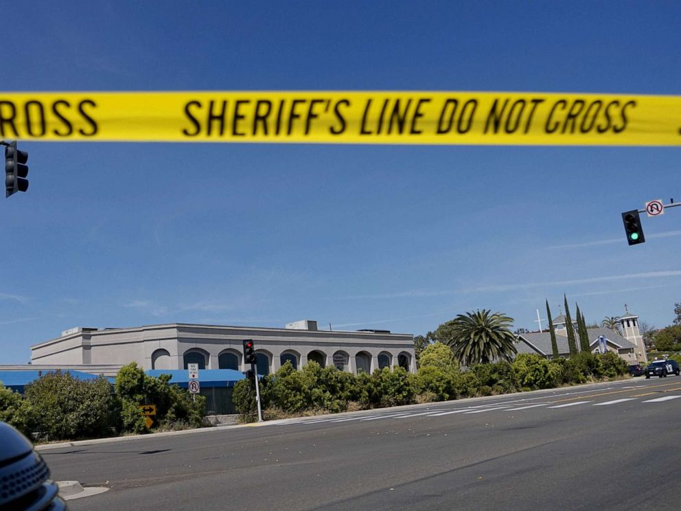 PHOTO: Sheriffs crime scene tape is placed in front of the Chabad of Poway Synagogue after a shooting, April 27, 2019 in Poway, Calif.