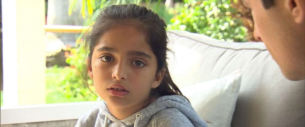 PHOTO: Noya Dahan, 8, speaks to ABC News after she was injured in a shooting at the Chabad of Poway outside of San Diego, Calif., April 28, 2019.