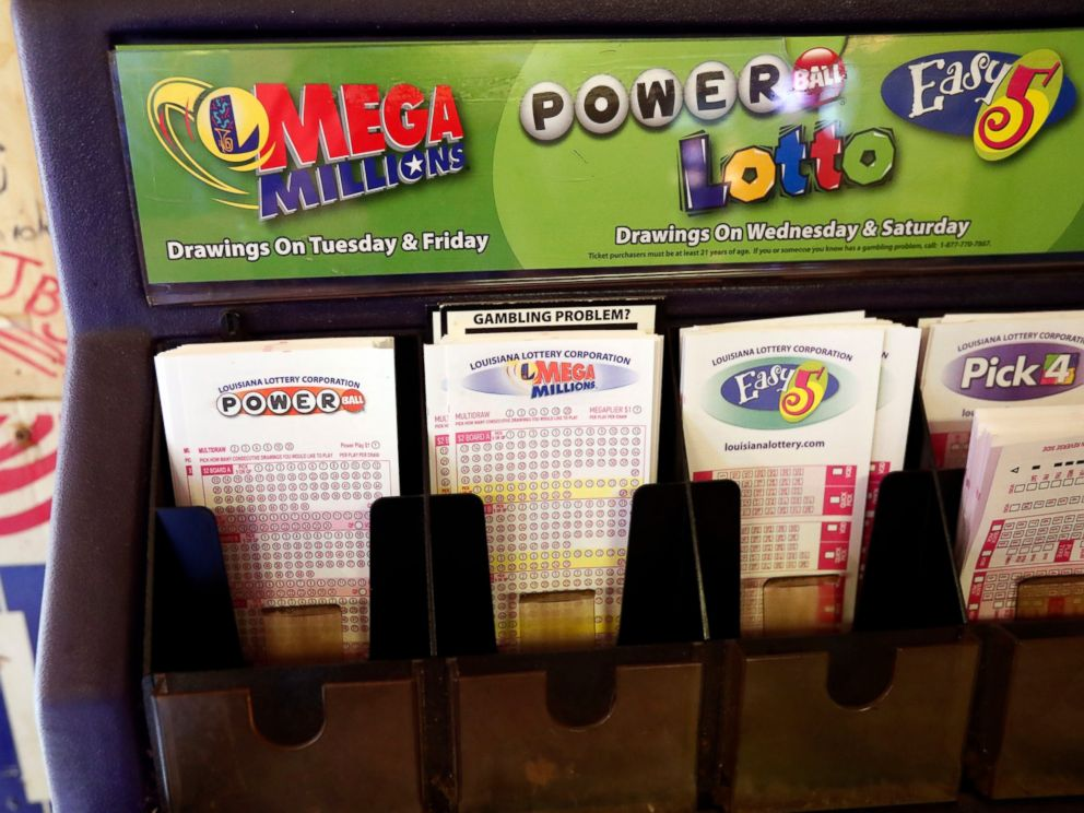 PHOTO: In this Tuesday, Oct. 23, 2018 file photo, lottery forms for Louisiana Mega Millions, Powerball and other lottery games fill the drawer at The World Bar and Grill, in Delta, La., a few miles from the Mississippi-Louisiana state line.