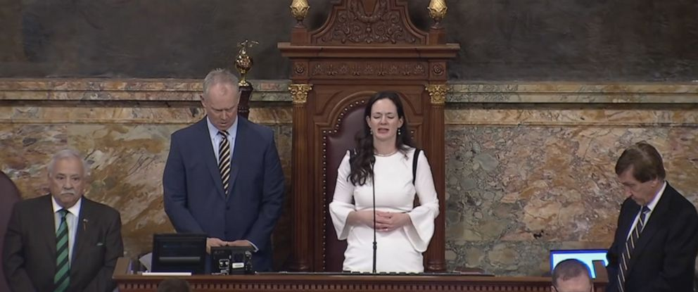 PHOTO: Rep. Stephanie Borowicz delivered a prayer on the floor of the State Capitol in Harrisburg, Penn., March 25, 2019, the same day the first Muslim woman was sworn into the legislature.
