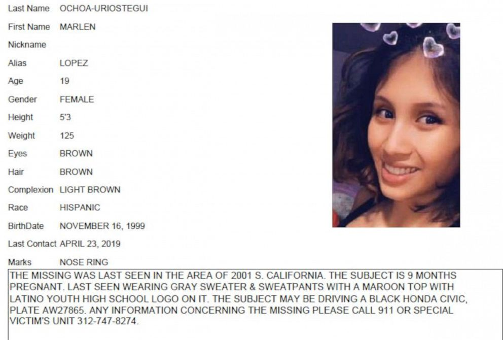PHOTO: Chicago Police missing person flier for Marlen Ochoa-Uriostegui, who had gone to a Chicago home in response to a Facebook offer of free baby clothes, was strangled and her baby cut from her womb, police and family members said.