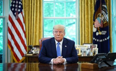 PHOTO: President Donald Trump speaks during a meeting with advisors about fentanyl in the Oval Office of the White House in Washington, DC, June 25, 2019.