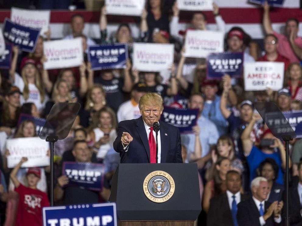 PHOTO: President Donald Trump speaks during a Keep America Great rally, July 17, 2019, in Greenville, North Carolina.