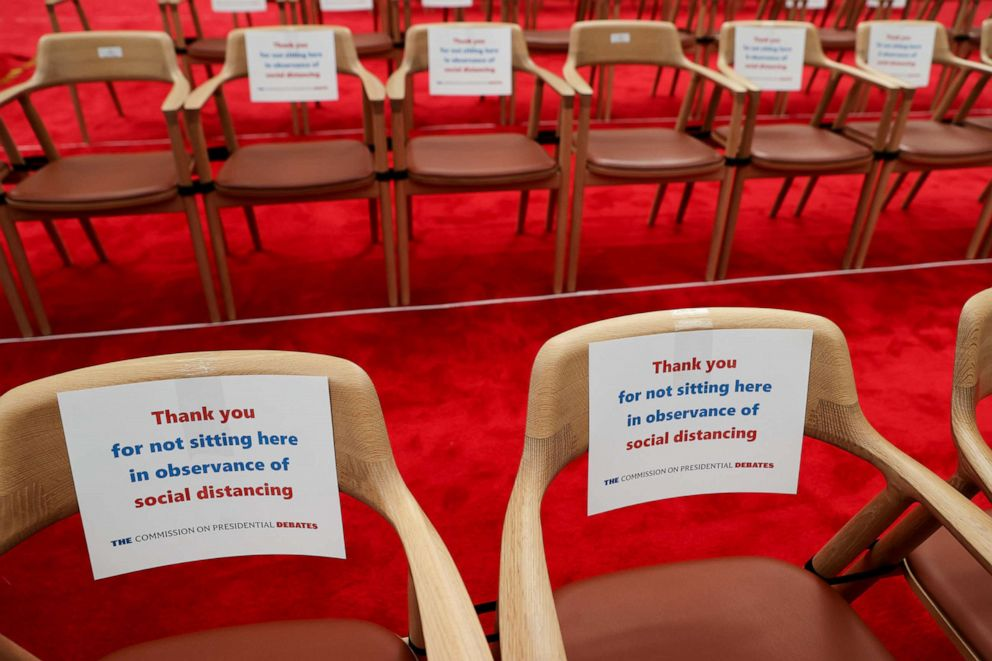 PHOTO: Signs direct attendees to leave specific seats empty for purposes of social distancing during the coronavirus disease pandemic before the first presidential debate on the campus of the Cleveland Clinic in Cleveland, Sept. 29, 2020.
