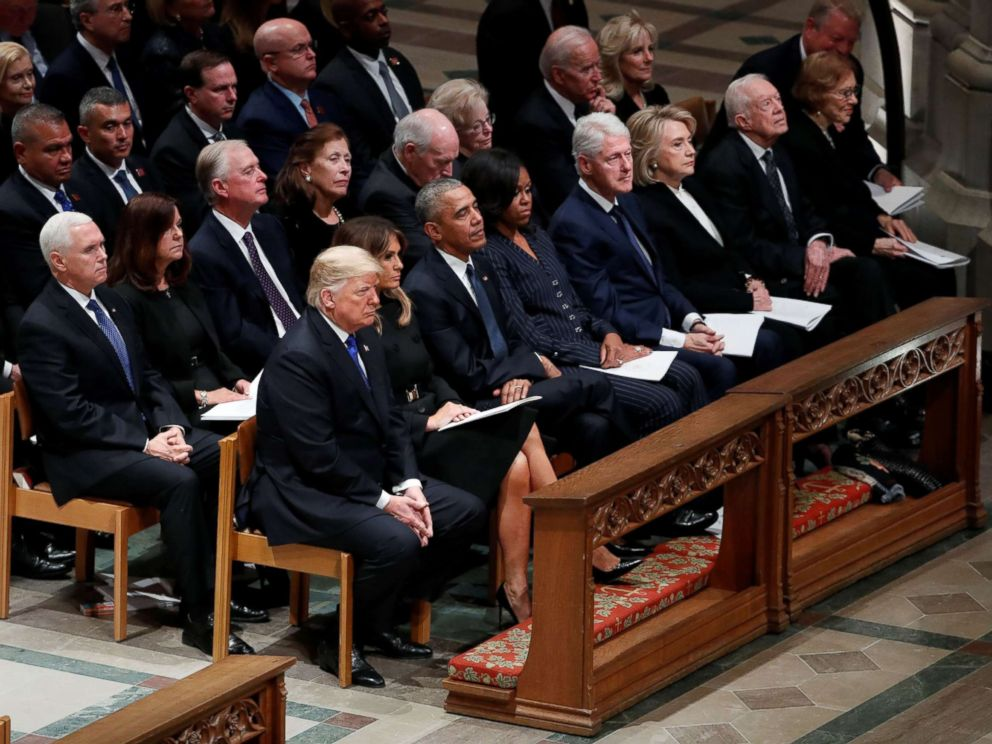 PHOTO: President Donald Trump and his wife join other former presidents for the funeral of former President George H.W. Bush, Dec. 5, 2018 in Washington.