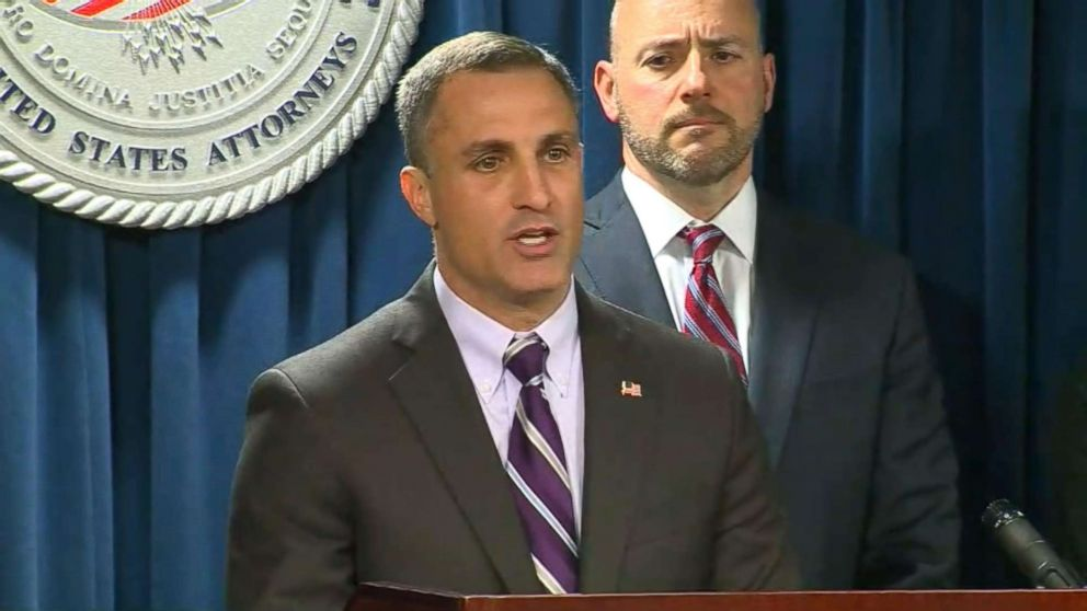 PHOTO: Joseph R. Bonavolonta, special agent in charge of the Boston Field Office speaks at a press conference on March 12, 2019.