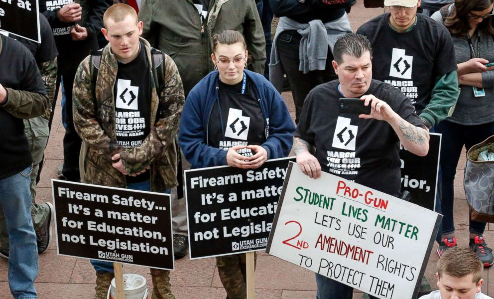 PHOTO: Pro-gun marchers gather during a rally designed by organizer to advocate for fortified schools and more armed teachers March 24, 2018, at the Utah State Capitol, in Salt Lake City.