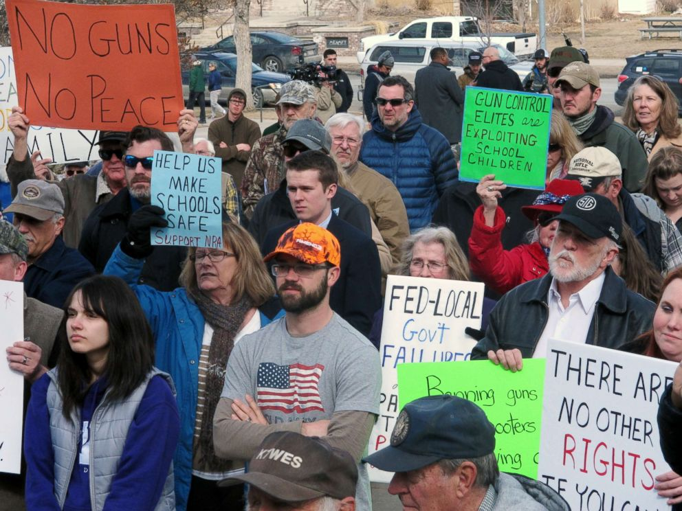 PHOTO: Gun-rights advocates rally during a protest at the Montana Capitol, March 24, 2018, in Helena, Mont. The counter-protest was held at the same time as the nationwide March for Our Lives rally was taking place.