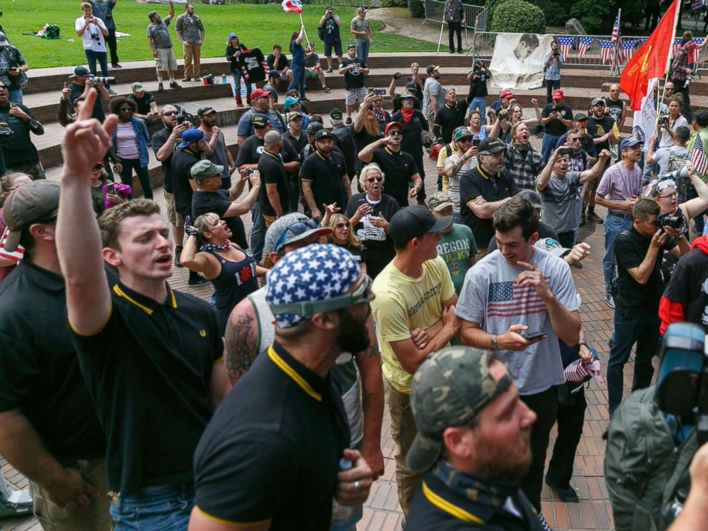 PHOTO: Alt-Right, Proud Boy, and Patriot Prayer members staged a Freedom and Courage rally and march in Portland, Oregon on June 30, 2018.