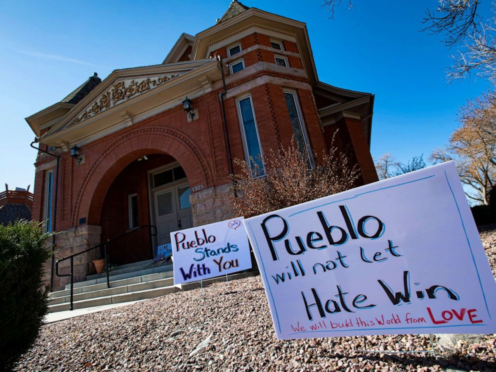 PHOTO: Signs, flowers and candles expressing love for the Jewish community stand outside the Temple Emanuel in Pueblo, Colo., Nov. 5, 2019.