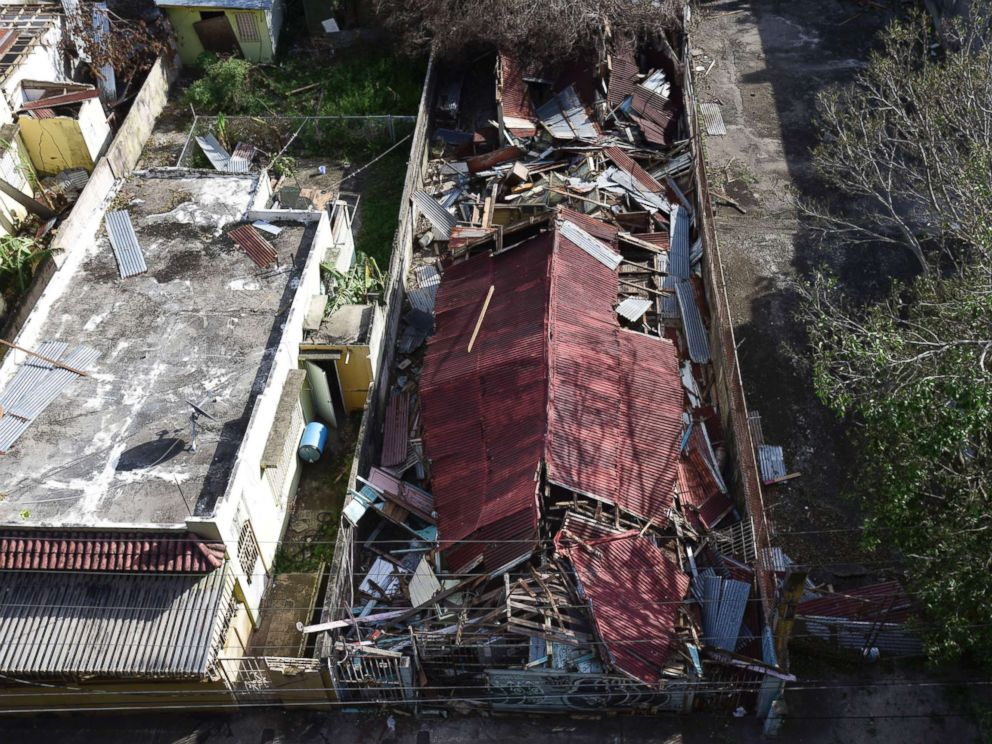 PHOTO: A destroyed building in the of El Gandul Community in Santurce is seen after Hurricane Maria, in San Juan, Puerto Rico, Sept. 25, 2017.