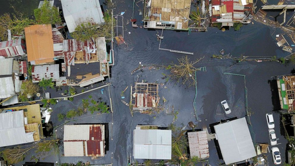 An aerial view shows the flooded neighbourhood of Juana Matos in the aftermath of Hurricane Maria in Catano, Puerto Rico, Sept. 22, 2017.