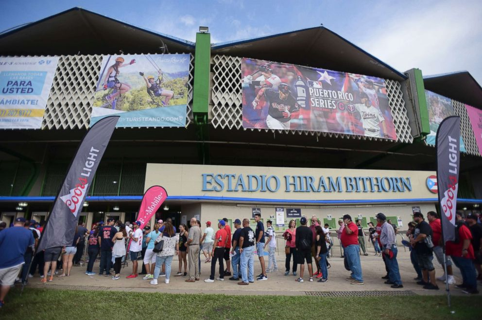 PHOTO: Fans wait for the start of game one of a two-game MLB Series between the Minnesota Twins and the Cleveland Indians at Hiram Bithorn Stadium in San Juan, Puerto Rico, April 17, 2018.
