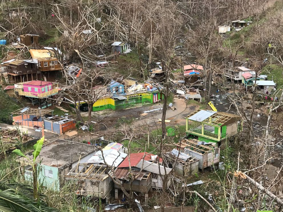 PHOTO: The Puerto Rico town of Comerío lays in tatters with most of the roofs were ripped off and trees stripped by Hurricane Maria, Oct. 5, 2017.
