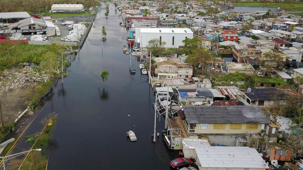 An aerial view shows the flooded neighborhood of Juana Matos in the aftermath of Hurricane Maria in Catano, Puerto Rico, Sept. 22, 2017.