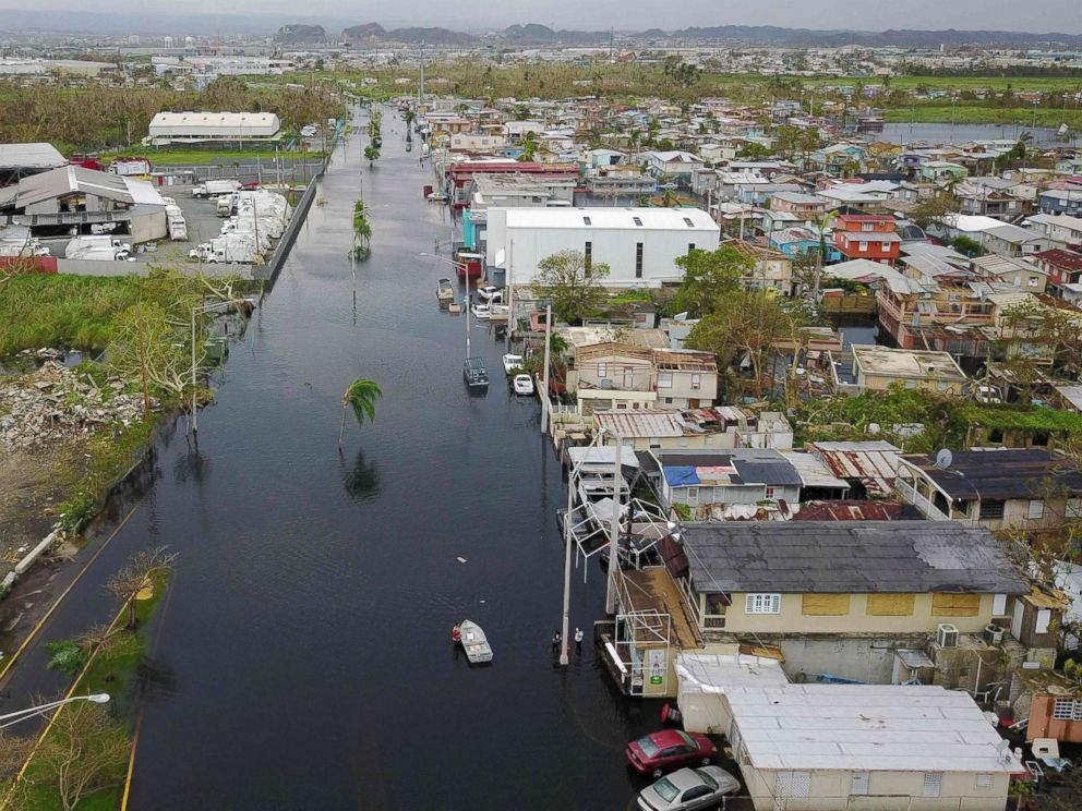 PHOTO: An aerial view shows the flooded neighborhood of Juana Matos in the aftermath of Hurricane Maria in Catano, Puerto Rico, Sept. 22, 2017.