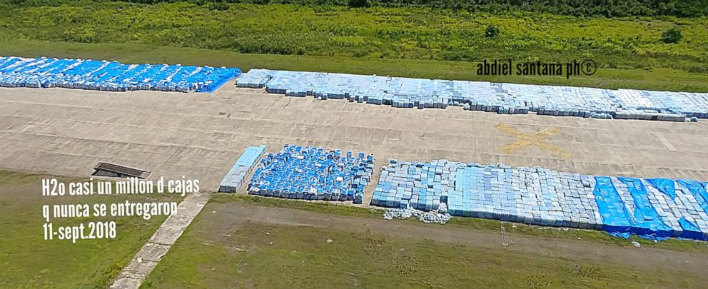 PHOTO: Thousands of water bottles left on an naval base tarmac in Ceiba, Puerto Rico that were meant for Hurricane Maria survivors.