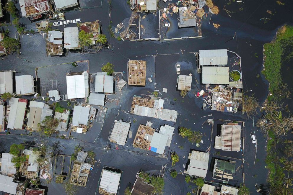 An aerial view of the flooded neighborhood of Juana Matos in the aftermath of Hurricane Maria in Catano, Puerto Rico, Sept. 22, 2017.