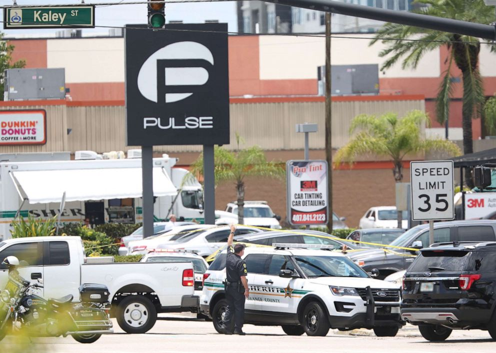 PHOTO:A police vehicle outside the Pulse nightclub, the scene of a mass shooting in Orlando, Fla., June 12, 2016.