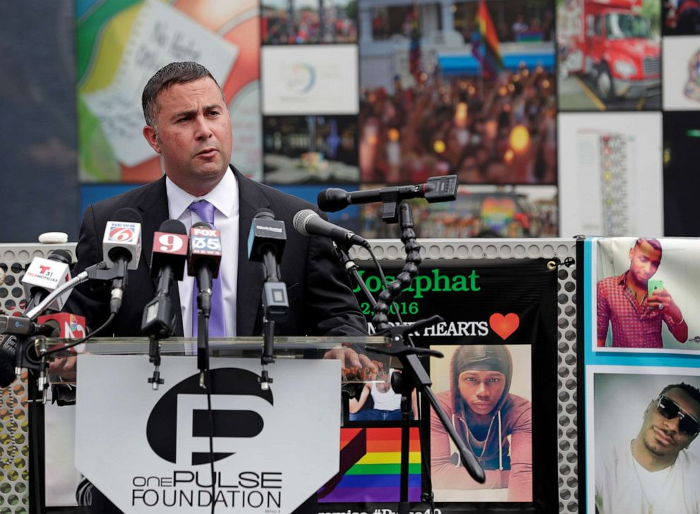 PHOTO: Rep. Darren Soto makes comments during a news conference to introduce legislation that would designate the Pulse nightclub site as a national memorial, June 10, 2019, in Orlando, Fla.