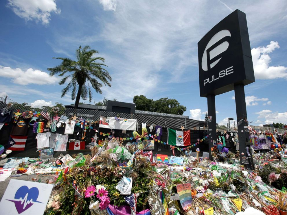 PHOTO: A makeshift memorial is seen outside the Pulse nightclub, a month after the mass shooting in Orlando, Fla., July 11, 2016.