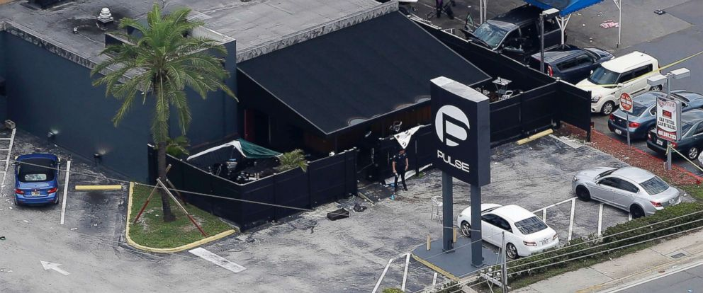 PHOTO: Law enforcement officials work at the Pulse gay nightclub in Orlando, Fla., following a mass shooting, June 12, 2016.