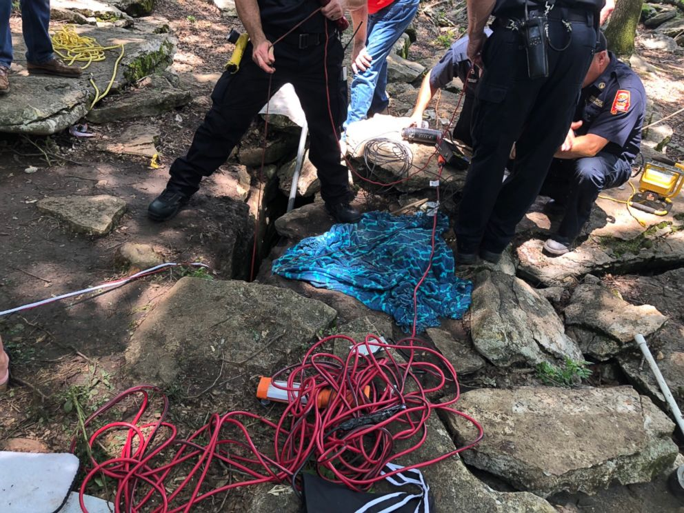 A deaf 7-week-old puppy fell into the hole on Thursday afternoon and rescued on Saturday
