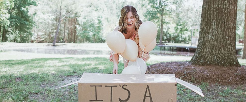 PHOTO: Joy Stone, 25, of Melissa, Texas, was photographed with her new dog in a gender-reveal-style photo shoot.