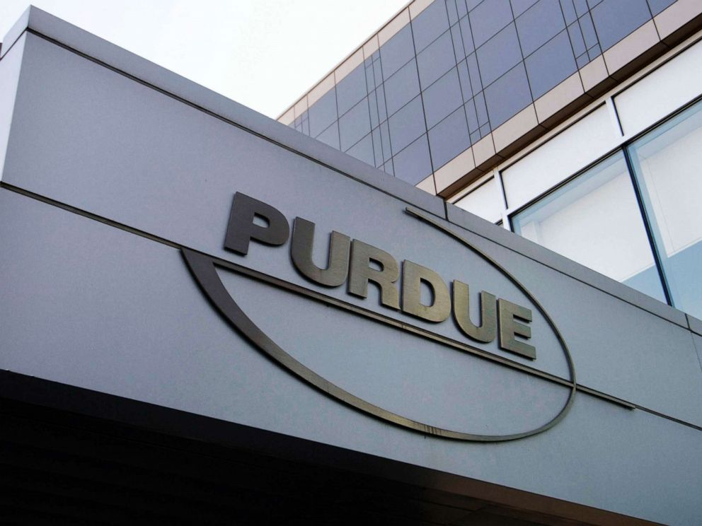 PHOTO: This May 8, 2007, file photo shows the Purdue Pharma logo at its offices in Stamford, Conn.
