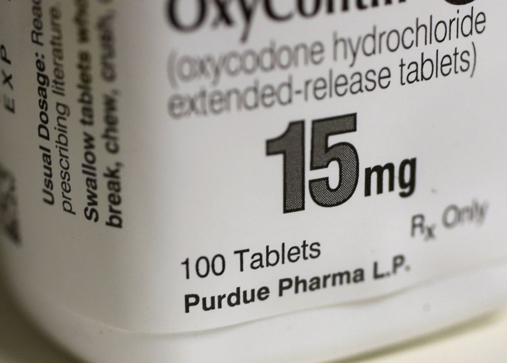 Purdue Pharma L.P. OxyContin medication sits on a pharmacy shelf in Provo, Utah, Aug. 31, 2016.
