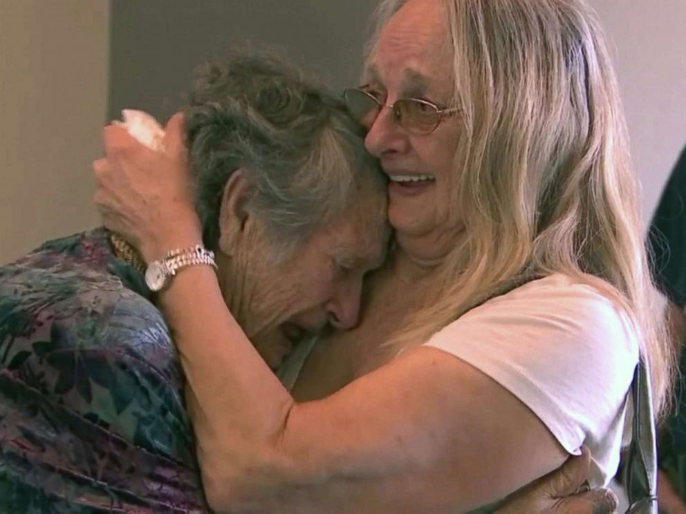 PHOTO: Genevieve Purinton, 88, left, reunited with the daughter she never met, Connie Moultroup, 69, in Florida after nearly 70 years apart.