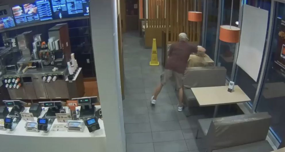 The suspect entered the McDonald's and snatched the woman's purse from behind before running out of the restaurant.