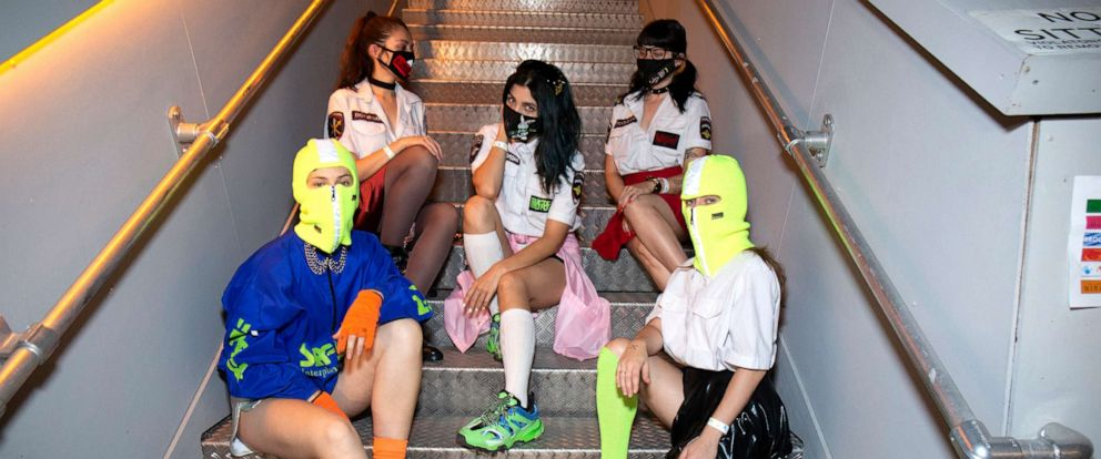 PHOTO: The members of Pussy Riot pose for photos backstage during Ladyland Festival at Avant Gardner on June 28, 2019, in Brooklyn, New York.