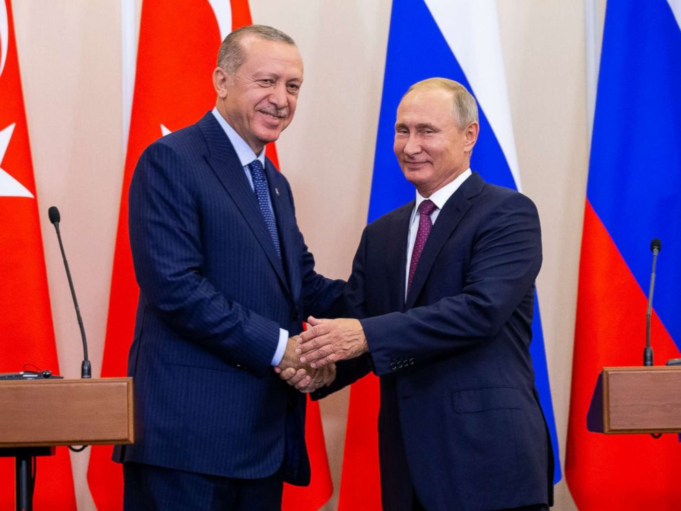 PHOTO: Russian President Vladimir Putin and Turkish President Recep Tayyip Erdogan shake hands after their joint news conference in Sochi, Russia, Sept. 17, 2018.