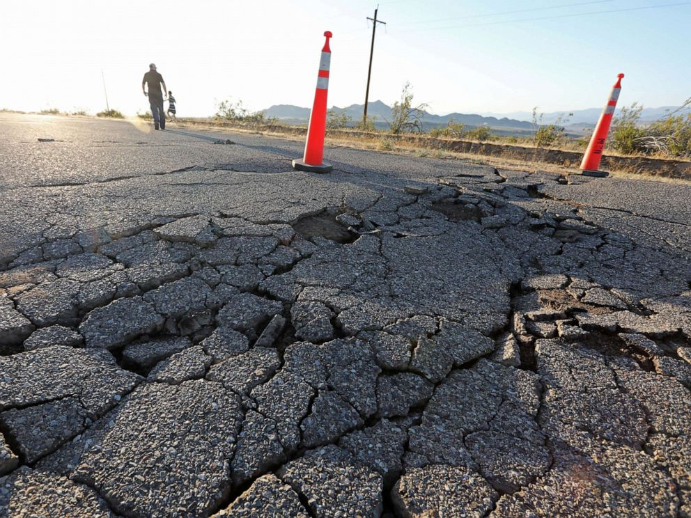 PHOTO: Fissures that opened up under a highway during a powerful earthquake that struck Southern California are seen near the city of Ridgecrest, Calif., U.S., July 4, 2019.