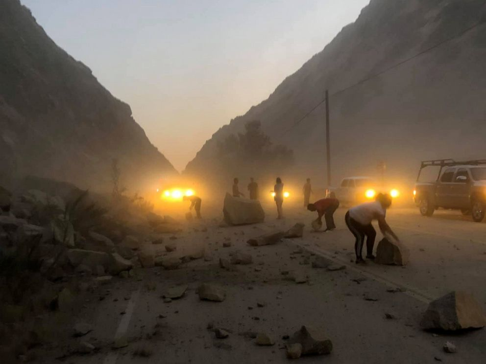 PHOTO: Aftermath of a rockslide caused by the earthquake in Kern County, Calif., July 5, 2019, in this picture obtained from social media.