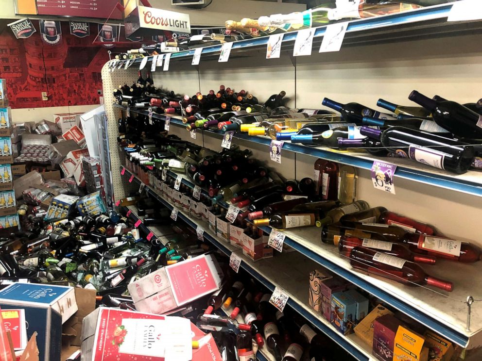 PHOTO:Toppled bottles of wine are seen after an earthquake at Eastridge Market in Ridgecrest, Calif., July 6, 2019.