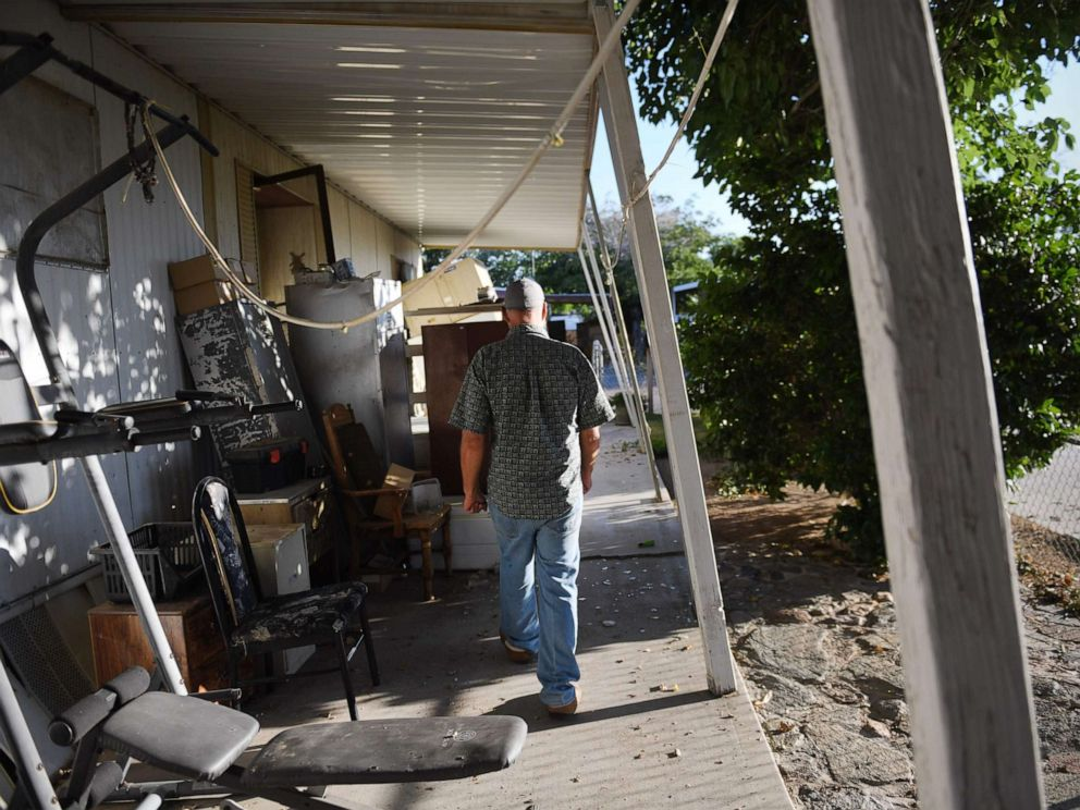PHOTO: Terry Brantley walks outside his mobile home which moved over 12 inches as a result of a magnitude 7.1 earthquake, in Ridgecrest, Calif., July 6, 2019.