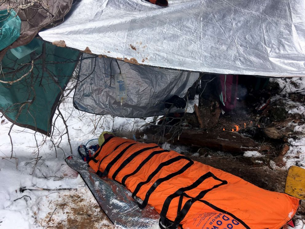 PHOTO: Search and Rescue made this shelter to treat Ryan Osmun and his companion overnight.