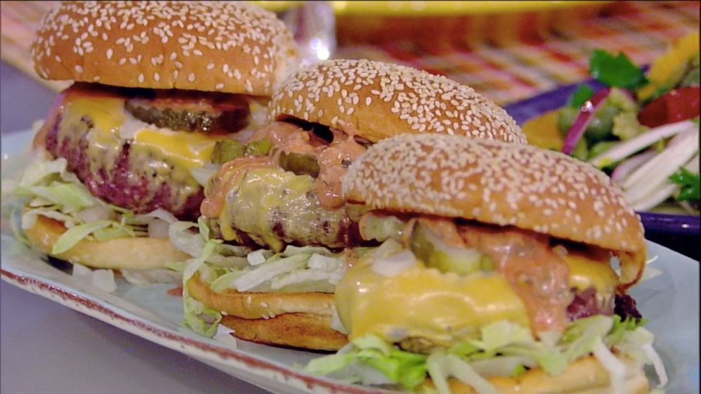 PHOTO: Rachael Ray brings The View co-hosts Fried Onion Smack Burgers from her book Rachael Ray 50 on Tuesday, Oct. 15, 2019.