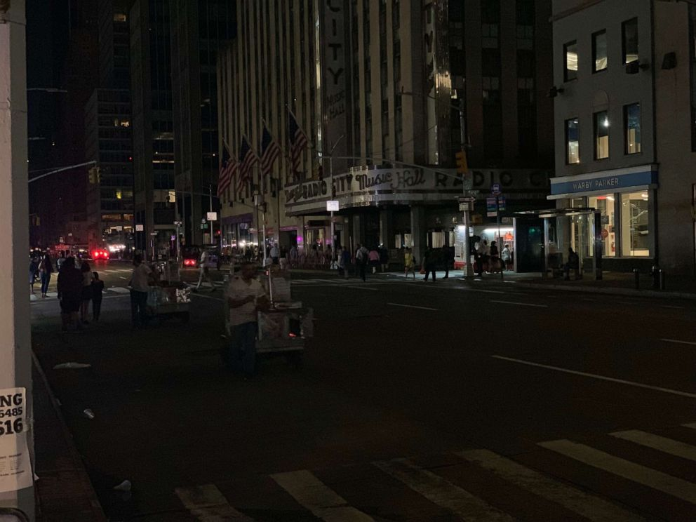 PHOTO: The lights were dark at Radio City Music Hall in New York City after a power outage affected large parts of Manhattan on Saturday, July 13, 2019.