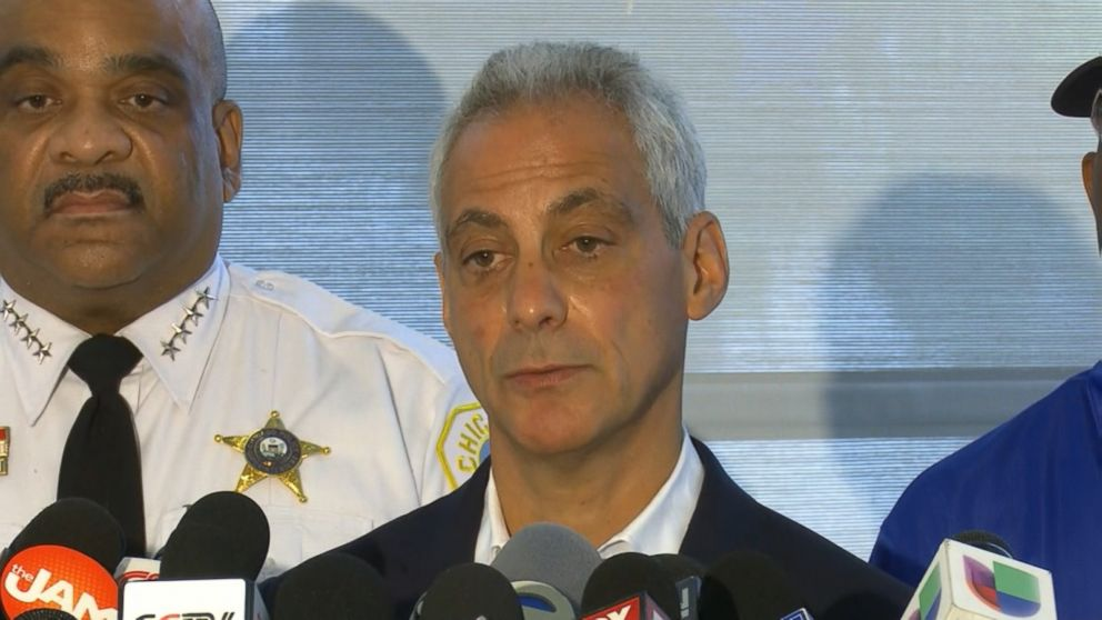 PHOTO: Chicago mayor Rahm Emmanuel speaks emotionally to the press about the recent shootings and violence in Chicago, Aug. 6, 2018.