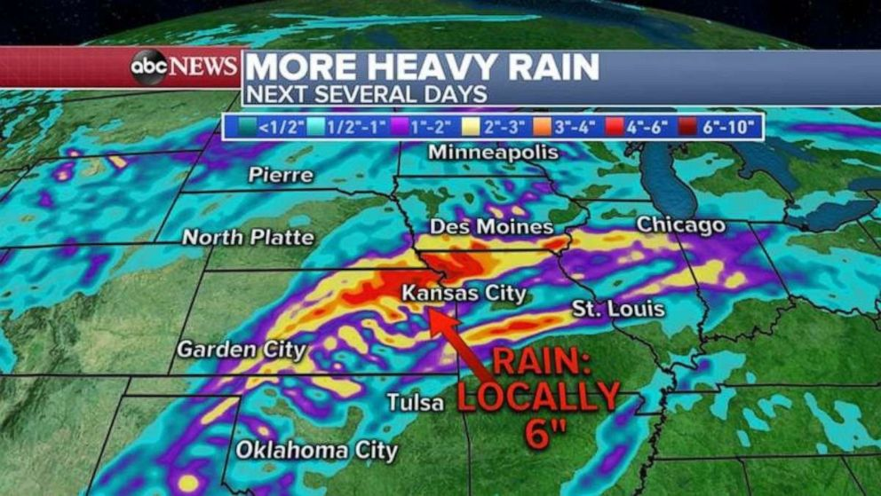 PHOTO: Rainfall totals could approach half a foot in eastern Kansas and northern Missouri over the next several days.