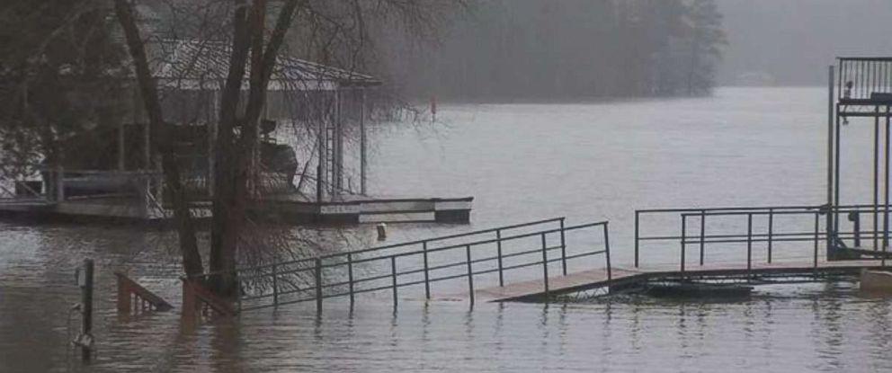 PHOTO: Multiple weeks with heavy rain events on the East Coast has Lake Lanier, in Georgia, northeast of Atlanta, rising over peoples docks.