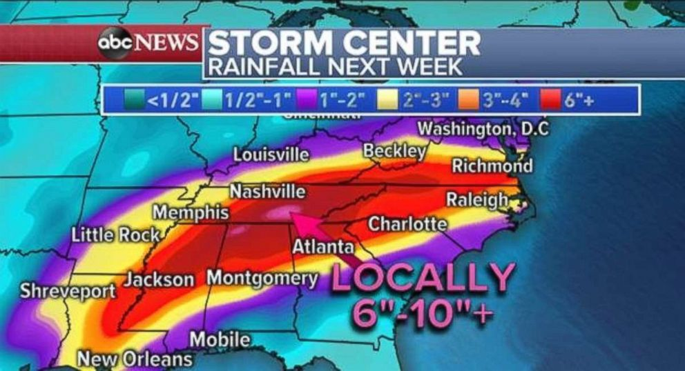 PHOTO: A wide swath of 6 inches or more of rain is likely throughout the Southeast in the week ahead.