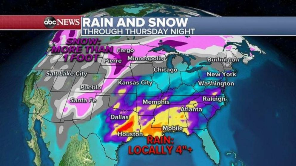 PHOTO: Rainfall totals could be over 4 inches along the Gulf Coast with over a foot of snow in the Dakotas.