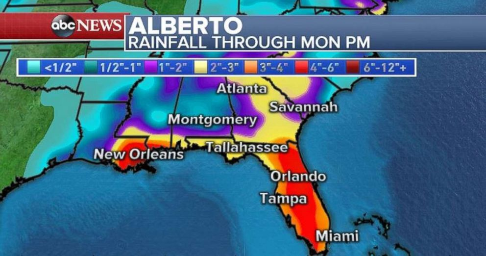 Rainfall totals will be highest in Florida and eastern Louisiana.