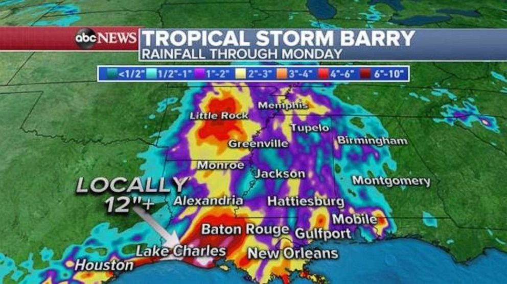 PHOTO: The heaviest rain will fall in southern Louisiana through the next 48 hours.