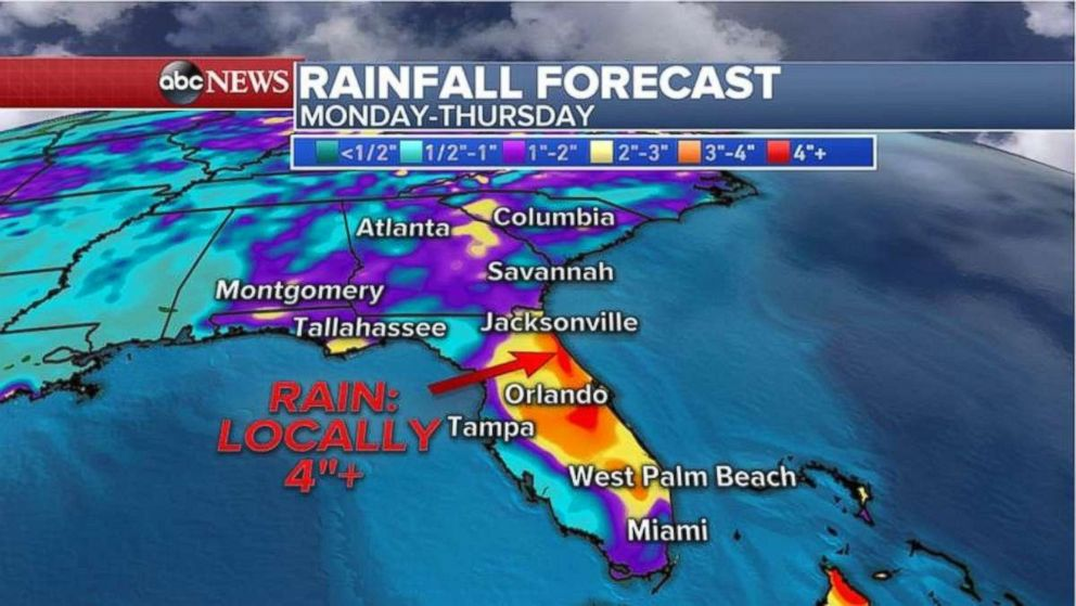 Rainfall totals will be heaviest in central Florida.